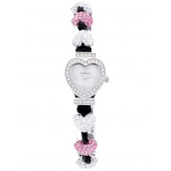 Sekonda Ladies Crystalla Pink White Heart Watch 2002