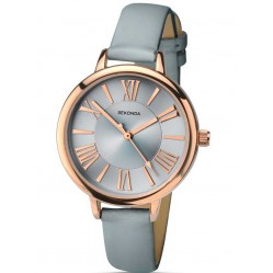 Sekonda Ladies Rose Gold Plated Grey Strap Watch 2356
