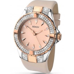 Sekonda Ladies Rose Gold Dial Stainless Steel Leather Strap 2082
