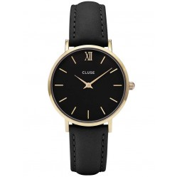 Cluse Minuit Gold Plated Black Strap Watch CL30004