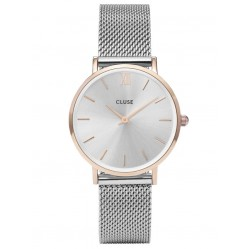 Cluse Minuit Rose Gold Plated Mesh Bracelet Watch CL30025
