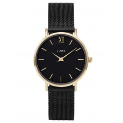 Cluse Minuit Gold Plated Black Mesh Bracelet Watch CL30026