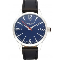 Minster 1949 Mens Crofton Black Leather Strap Watch MN01BLSL10