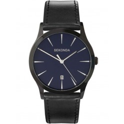 Sekonda Mens Dark Blue Date Dial Black Leather Strap Watch 3536