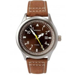 Sekonda Mens Aviator Brown Strap Watch 3882