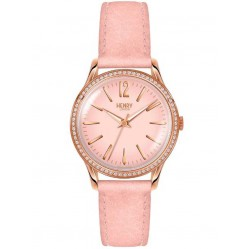 Henry London Shoreditch Stone Set Pink Strap Watch HL34-SS-0202