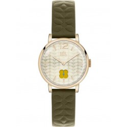 Orla Kiely Frankie Green Leather Strap Watch OK2006