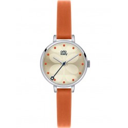 Orla Kiely Ivy Orange Leather Strap Watch OK2013