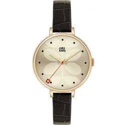 Orla Kiely Ivy Gold Plated Black Strap Watch OK2032