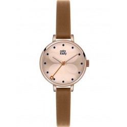 Orla Kiely Ivy Rose Gold Plated Brown Strap Watch OK2034