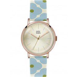 Orla Kiely Patricia Rose Gold Plated Blue Flower Strap Watch OK2072