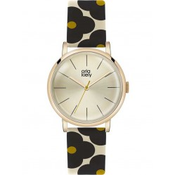 Orla Kiely Ladies Patricia Rose Gold Plated Flower Strap Watch OK2074