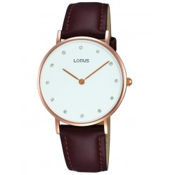 Lorus Ladies Brown Leather Watch RM202AX9