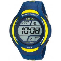 Lorus Mens Blue Yellow Rubber Strap Watch R2339EX9
