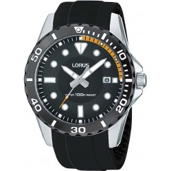 Lorus Mens Black Rubber Strap Watch RS931AX9