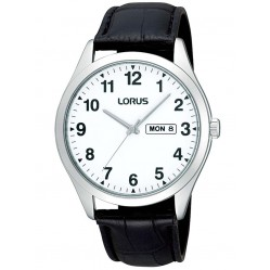 Lorus Mens Black Leather Strap Watch RJ643AX9