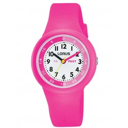 Lorus Kids Time Teacher Bright Pink Rubber Strap Watch RRX99EX9