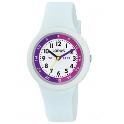 Lorus Kids Time Teacher Bright White Rubber Strap Watch RRX95EX9