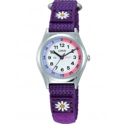 Lorus Kids Time Teacher Purple Daisy Nylon Strap Watch RG251KX9