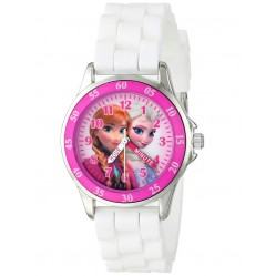 Disney Kids Time Teacher Anna and Elsa White Rubber Strap Watch FZN3550