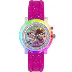 Disney Kids Frozen Anna and Elsa Pink Rubber Strap Watch FZN3565D