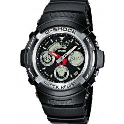 Casio G-Shock Classic Dual Display Black Plastic Strap Watch AW-590-1AER
