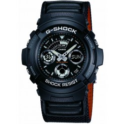 Casio G-Shock Classic Dual Display Black Fabric Strap Watch AW-591MS-1AER