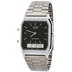 Casio Mens CASIO Collection Steel Black Dual Display Watch AQ-230A-1DMQYES