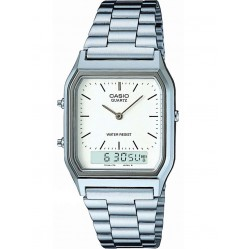 Casio Mens CASIO Collection Steel White Dual Display Watch AQ-230A-7DMQYES