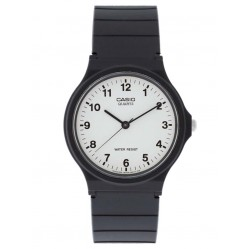 Casio Mens CASIO Collection Black Rubber Strap White Dial Full Figures Watch MQ-24-7BLL