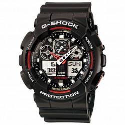 Casio Mens G-Shock Oversize Dual Display Black Strap Watch GA-100-1A4ER