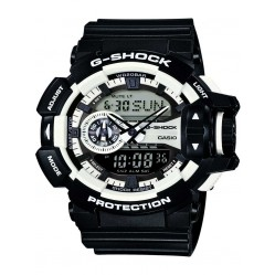 Casio G-Shock Classic Dual Display White Plastic Strap Watch GA-400-1AER