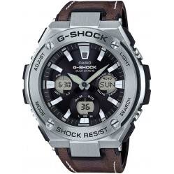 Casio Mens G-Shock G-Steel Brown Leather Strap Watch GST-W130L-1AER