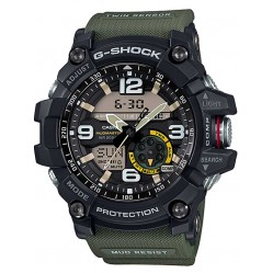 Casio Mens G-Shock Mudmaster Black Steel Dual Display Green Fabric Strap Watch GG-1000-1A3ER