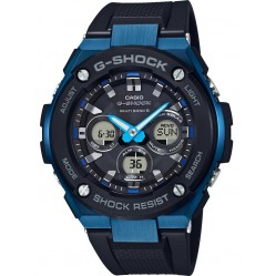 Casio Mens G-Shock G-Steel Blue Steel Dual Display Rubber Strap Watch GST-W300G-1A2ER