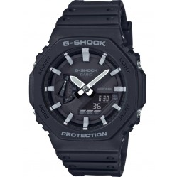 Casio G-Shock Classic Octagon Series Chronograph Dual Display Black Plastic Strap Watch GA-2100-1AER