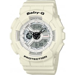 Casio G-Shock Baby-G Dual Display Cream Plastic Strap Watch BA-110PP-7AER