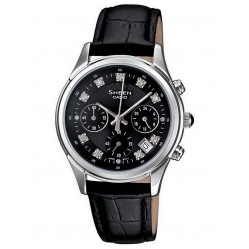 Casio Steel Black Strap Chronograph Black Stone Dial Watch SHE-5023L-1AER