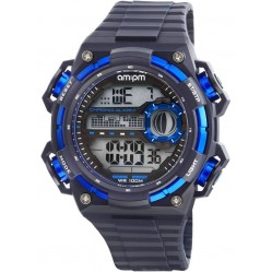 am:pm Black Blue Digital Watch PC163-G396