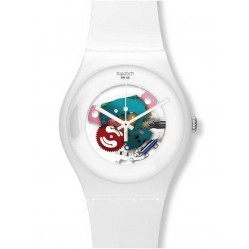 Swatch Unisex White Lacquered Skeleton Dial Watch SUOW100