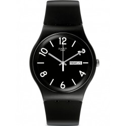 Swatch Unisex Backup Black Strap Watch SUOB715