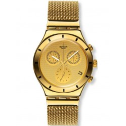 Swatch Unisex Gold Cover S Chronograph Bracelet Watch YCG410GB