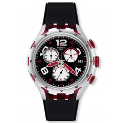 Swatch Mens Red Wheel Chronograph Watch YYS4004