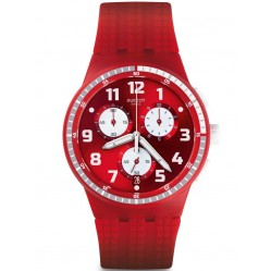 Swatch Mens Spremuta Red Chronograph Strap Watch SUSR403