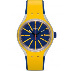 Swatch Mens Stretch Yellow Blue Strap Watch YES4009