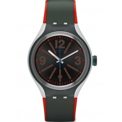Swatch Mens Baires Black Red Strap Watch YES4006