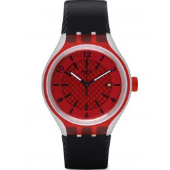 Swatch Mens Go Red Black Strap Watch YES4008