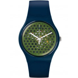 Swatch Mens Buchetti Navy Strap Watch SUON113