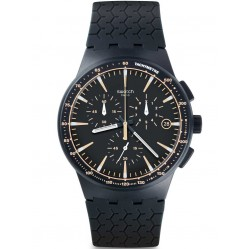 Swatch Mens Mein Spur Black Chronograph Strap Watch SUSN407