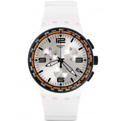 Swatch Mens White Blades Chronograph Strap Watch SUSW405